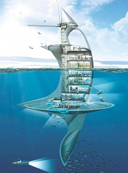 TheSea Orbiter, a huge 51m (167ft) structure is set to be the world's first vertical ship allowing man a revolutionary view of life below the surface. Mr Rougerie [the ship's designer] wants the ship to be a space station for the sea giving scientists and give insight into the little-known world under the sea.'Sea Orbiter will provide a permanent mobile presence with a window to what is under the surface of the sea.