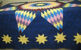 Accuracy is important.If you are off by a smidgen the quilt top will curl or buckle. A single mistake can destroy the balance of the Lone Star Quilt.