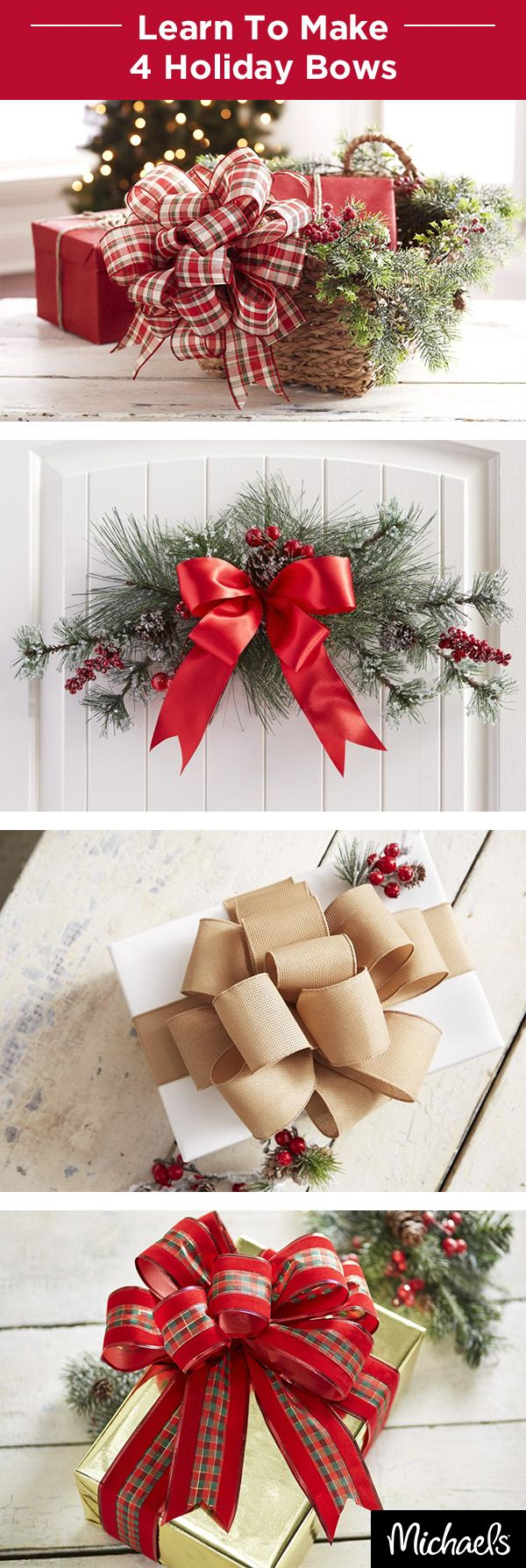 Learn to make holiday bows that make your presents and décor pop! It's so simple and elegant. Excite the gift recipient before they event get to what's inside. Get the instructions and supplies on Michaels.com