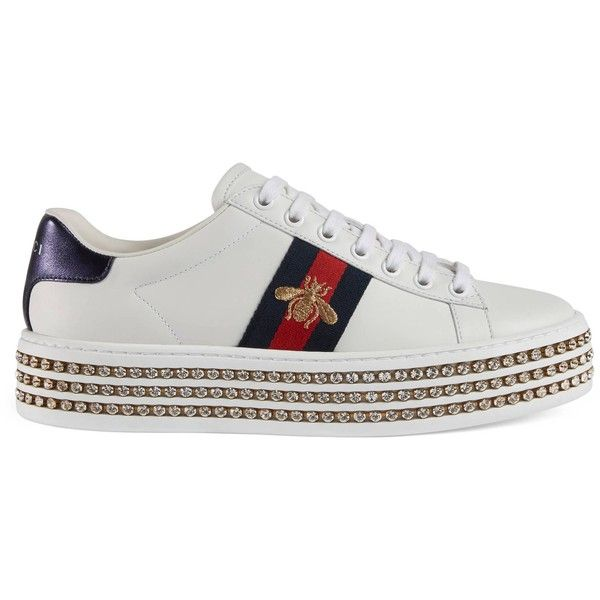 df7c83f0 Gucci Ace Sneaker With Crystals ($1,160) ❤ liked on Polyvore ...
