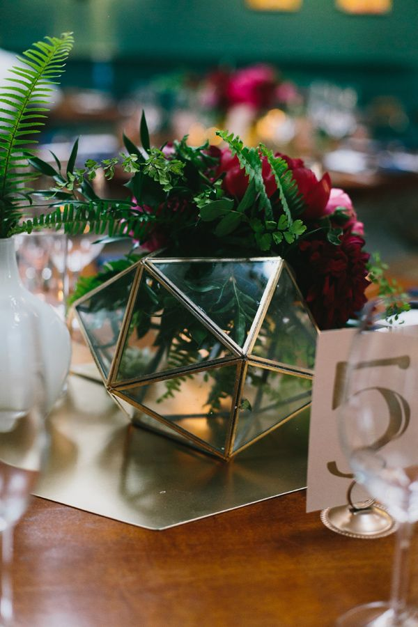 geometric centerpiece - photo by Heidi Ryder Photography http://ruffledblog.com/modern-wedding-at-the-fig-house-in-la