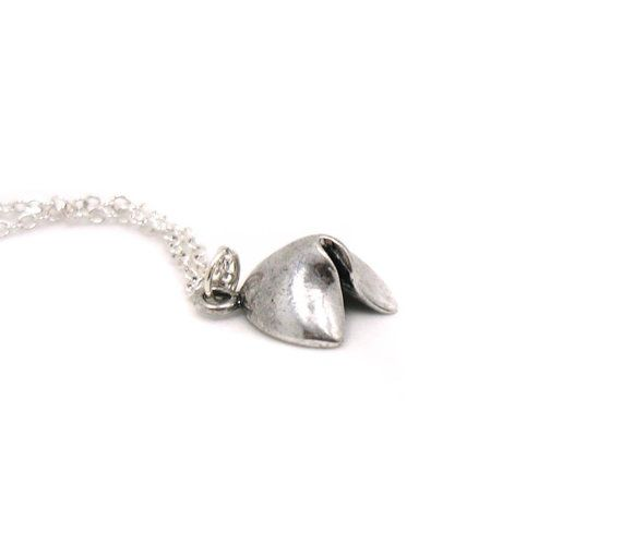 Fortune Cookie Necklace, Charm Necklace, Charm Jewelry, Silver Fortune Cookie Necklace, Fortune Cookie Jewelry, Jewelry Gift, Gift Under 10