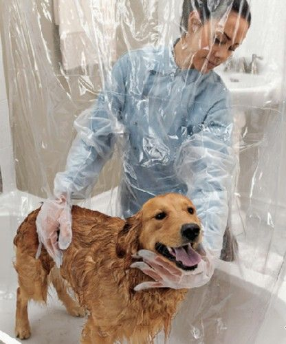 Pet Shower Curtain: This creative shower curtain includes waterproof gloves built into this see-through shower curtain making bathing in the bathtub at home easier for your pet.