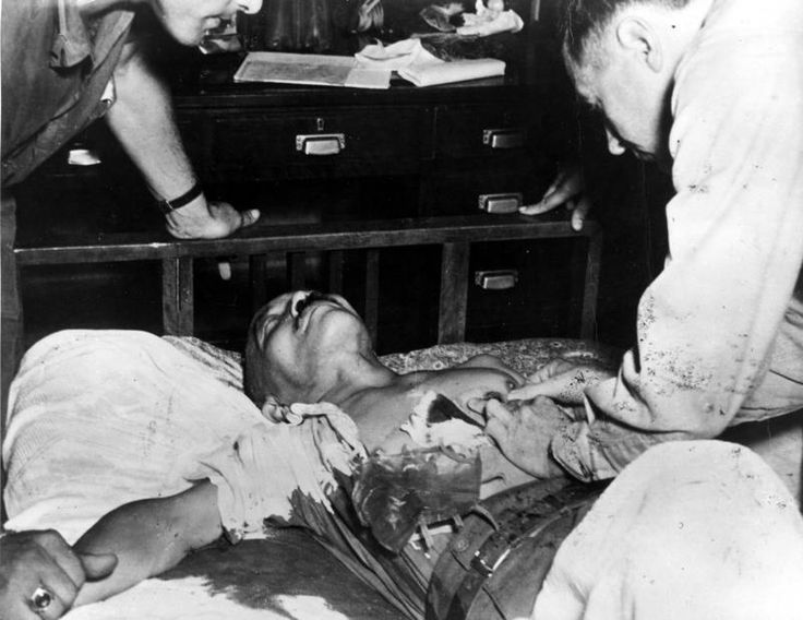 Hideki Tojo shot himself prior to his execution, but the wound was not fatal.