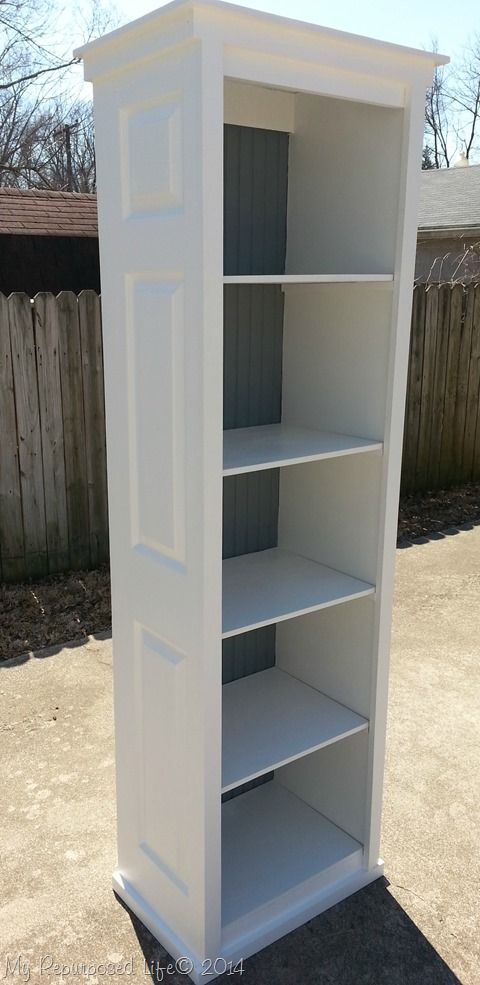 bookcase made from bi-fold doors at My Repurposed Life