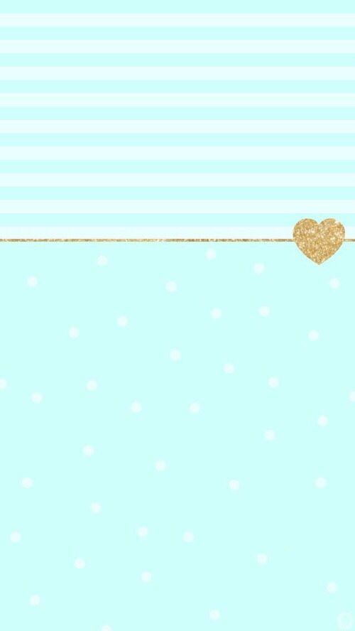 Gold heart in mint polka dot and striped pattern