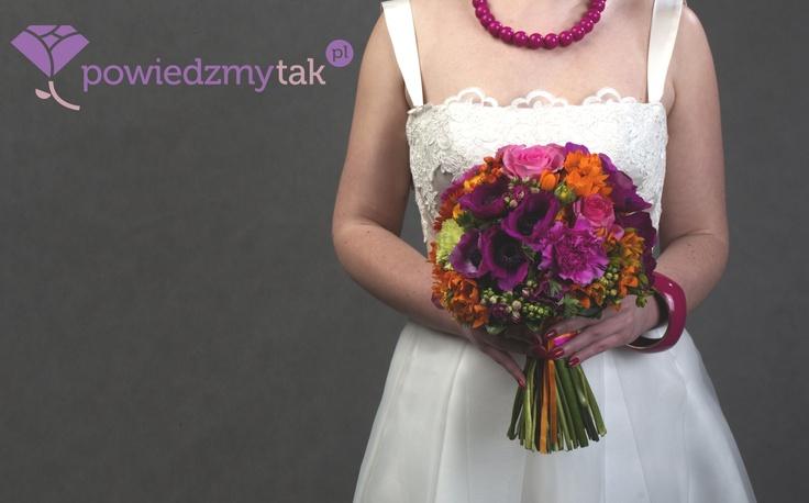Bukiet ślubny neon dla portalu powiedzmytak.pl