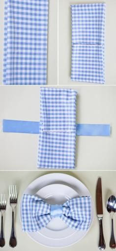DIY Cloth Napkins - Bead for a baby boy shower/dinner party