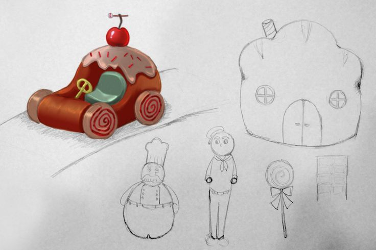 Children's drawings for a new stop-motion film from Children's Animation Workshop. Their sketches are painted over by artist Ingebjørg Faugstad Mæland.
