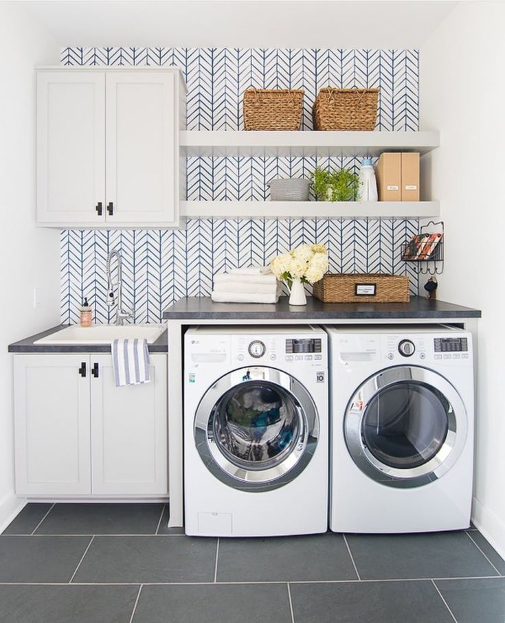 Bright And Open Laundry Room Laundry Room Wallpaper Grey