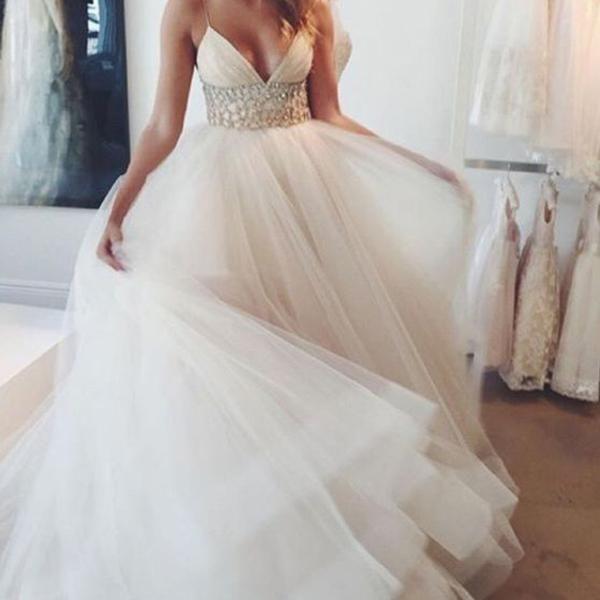 popular spaghetti sexy v neck long a line white organza wedding party dresses white rhinestone wd0095