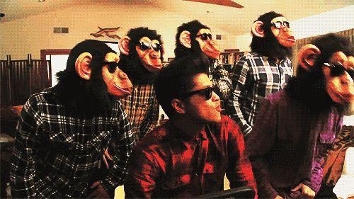 bruno mars, funny, gif, haha, monkeys