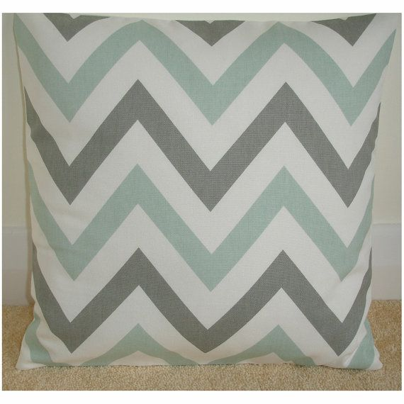 26x26 Zig Zag Euro Sham Pillow Cover Duck Egg and Grey