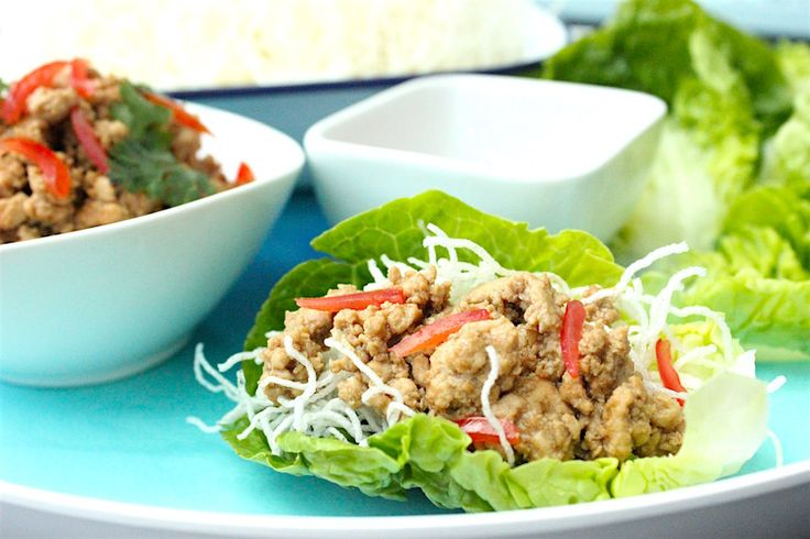 Thai inspired chicken on crispy noodles wrap with lettuce. Great dish to cook and eat with kids that is perfect for dinner party too.