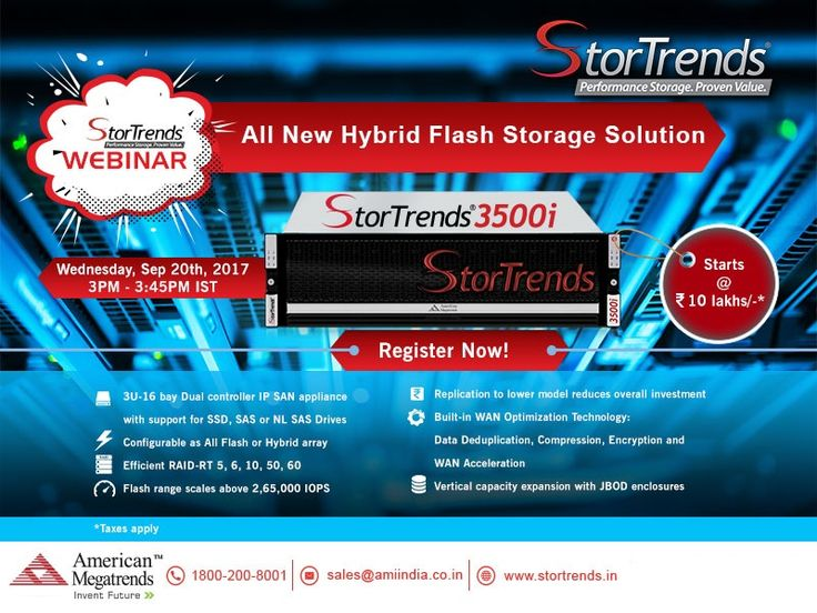 Learn more about All New #Hybrid Flash #Storage Solution. Join us for a free #StorTrends Webinar on 20 Sep 2017 at 3PM to 3.45PM IST.  Register here: https://goo.gl/aXsvHH