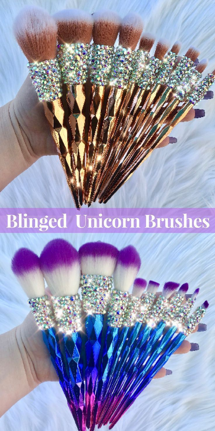 Rose gold and Ombre vegan/cruelty free sets of ten BLINGED