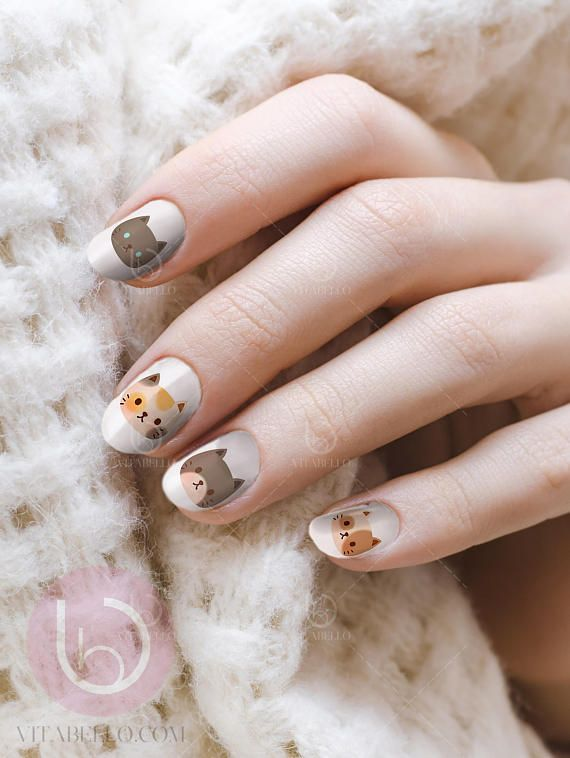 Cat lover nails! Super cute nail decals.   #ad #cat #nails #naildesigns #nailart #naildecals #nailstickers #decals #catlover