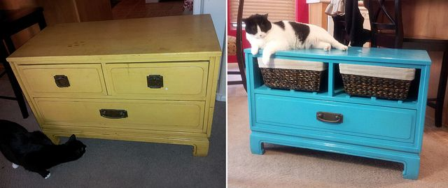 Replace broken dresser drawers with baskets - Before & After by wookette, via Flickr    I totally will do this to my night stands and dressers!