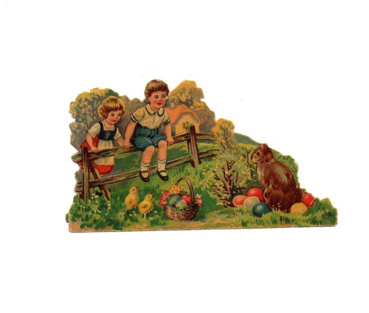 schöne seltene  alte  Oblate - scrap die cut chromo , Kinder zu Ostern ( 70 )