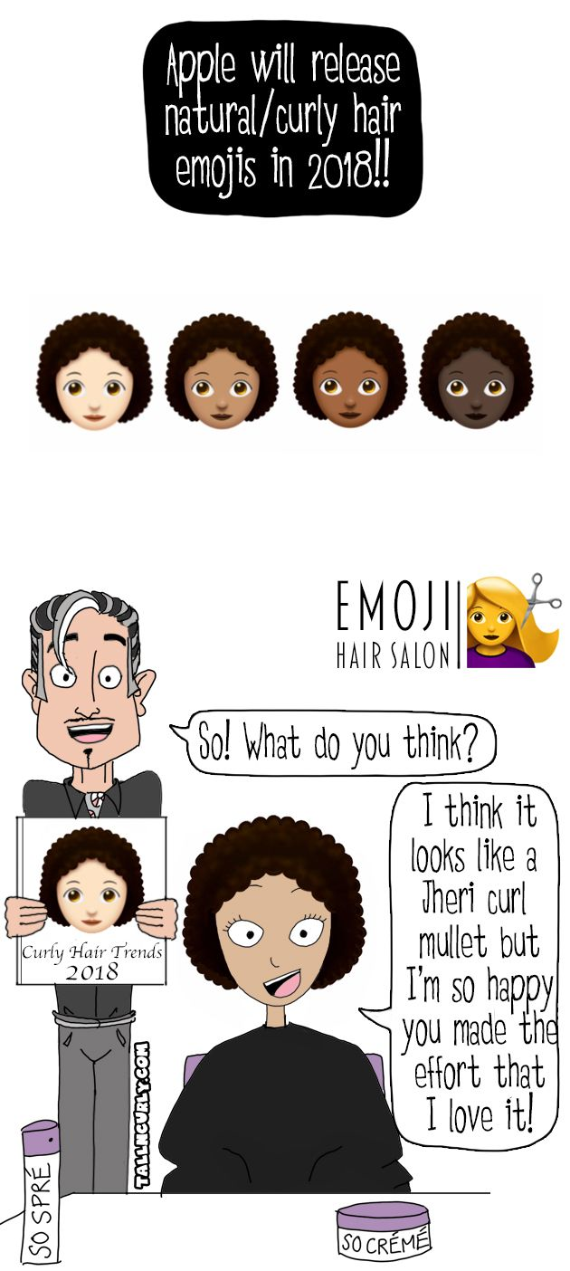 Apple Will Release Natural Hair Curly Hair Emojis In 2018 Tall N Curly Curly Hair Styles Natural Hair Styles Curly Hair Trends