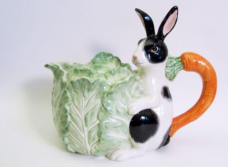 Fitz & Floyd Kensington Rabbit Teapot Vintage Collectible. $34.00, via Etsy.