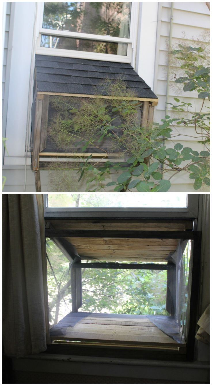 A DIY cat window box is only days away with this easy to follow tutorial on how to make a cat window box from palettes. #RoofedItMyself #ad
