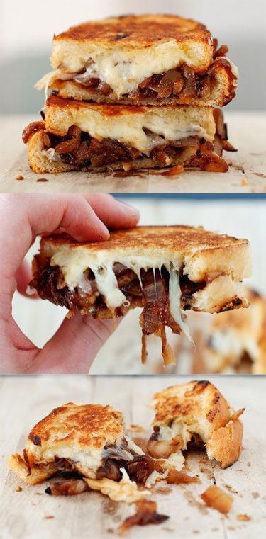 30 decadent and over-the-top ways to prepare a grilled cheese sandwich. How does a french onion grilled cheese sound?  #grilledcheese #sandwiches #lunch