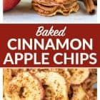 Crispy Baked Apple Chips. Simple oven baked chips recipe with just cinnamon and apples, no sugar or dehydrator needed! Easy, healthy snack recipe. Kids love them and they're a great food gift idea. Recipe at wellplated.com #healthy #cleaneating #snacks #recipe