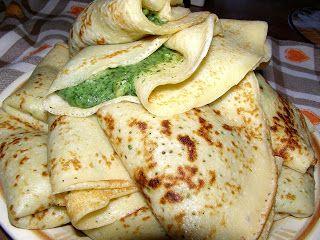 W Mojej Kuchni Lubię.. : naleśniki budyniowe ze szpinakiem i mozzarellą...