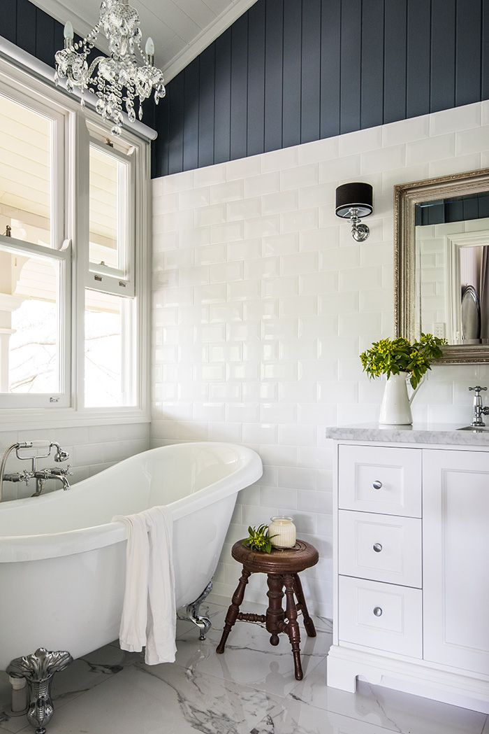 I love the dark painted VJ's above the tiling. This would work well in our ensuite