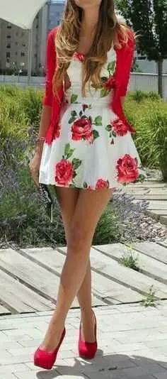 Dress white with red flowers ❤