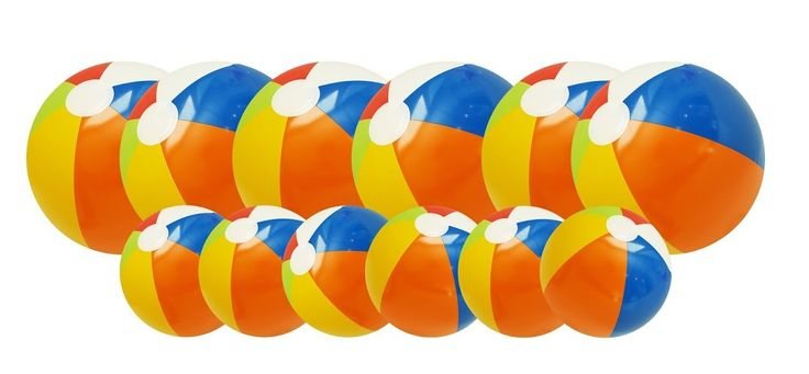 """Inflatable Rainbow Beach Balls - 12 Pack - 6 Large and 6 Small Inflatable Pool Toy Beach Balls. Includes 12 total inflatable beach balls. Great toy for a pool party or just backyard fun!. 6- 20"""" and 6 - 6"""" beach balls!. Perfect toys for the beach, sand, water toy play and toys for swimming. All 12 designs are rainbow striped."""