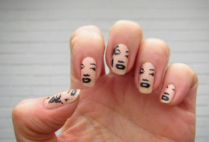 Sanne's nails, Marilyn Monroe, stamped with MoYou plate, 2014.
