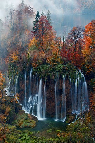 Plitvice National Park, Croatia in Autumn .