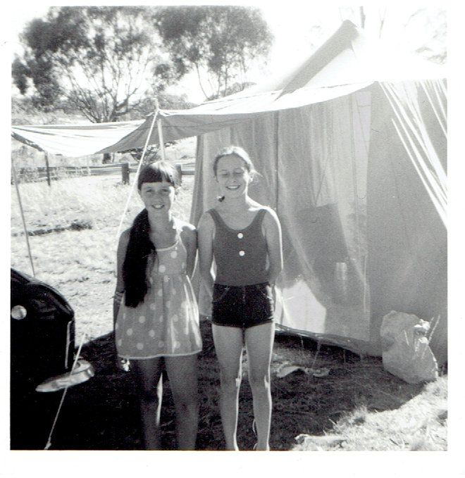 Suzy and Margaret (cousin) on a camping holiday somewhere!