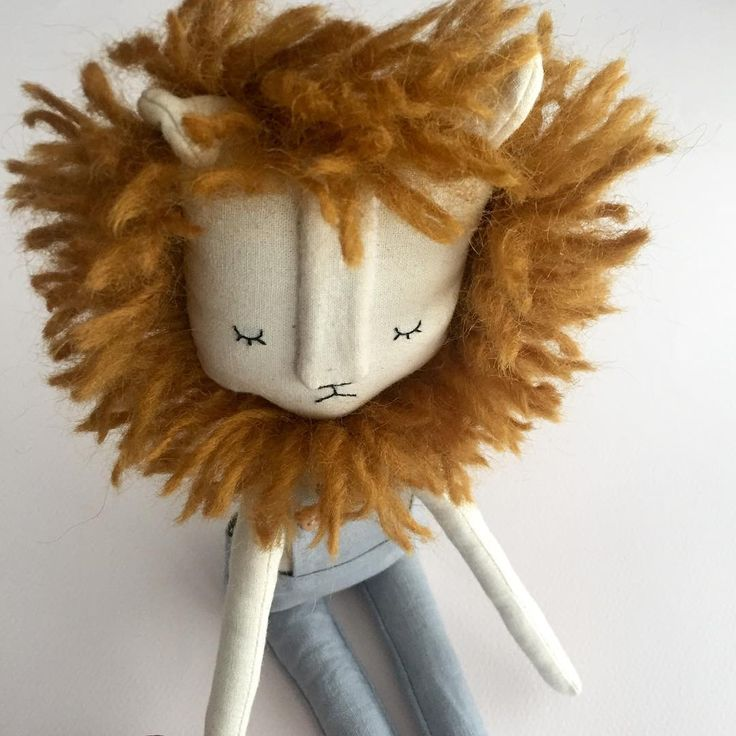 """I think I'm happy with the new size and adjustments to the lion doll. He's 13"""" tall and is a sitting doll. I've decided to keep this guy, but feel free to DM me if you'd like a little lion for yourself!"""
