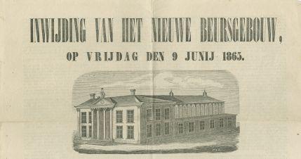 De eerste Korenbeurs, een houten gebouw, werd gebouwd in 1774. In Groningen maakte de graanteelt in die periode een grote bloeitijd door. Het houten gebouw voldeed daarom al vrij snel niet meer. In 1862 werd het daarom vervangen door een stenen gebouw. Het vele glas dat gebruikt werd bij de bouw was nodig om genoeg daglicht te hebben, belangrijk voor het keuren van het graan. De functie van graanbeurs heeft het behouden tot in de jaren 1980.