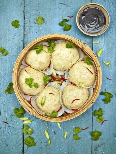 Love dim sum? Find a delicious recipe for steamed vegan dim sum buns stuffed with a mushroom filling and served with a hoisin sauce from Jamie Oliver.