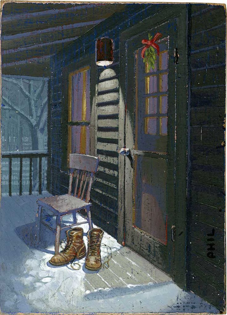 Boots by the Door. Illustration by Phil. Represented by i2i Art Inc. #i2iart