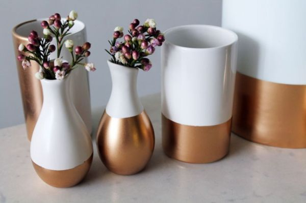 DIY copper-dipped home accessories and decorations then mosaic the top. I see a