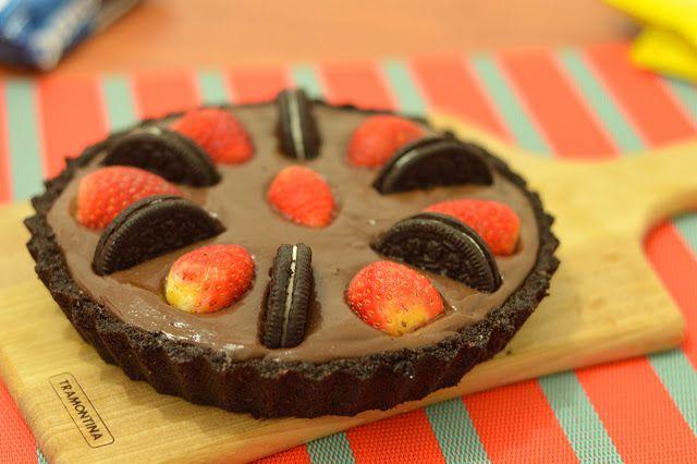 Torta sem forno: Oreo  chocolate  morangos