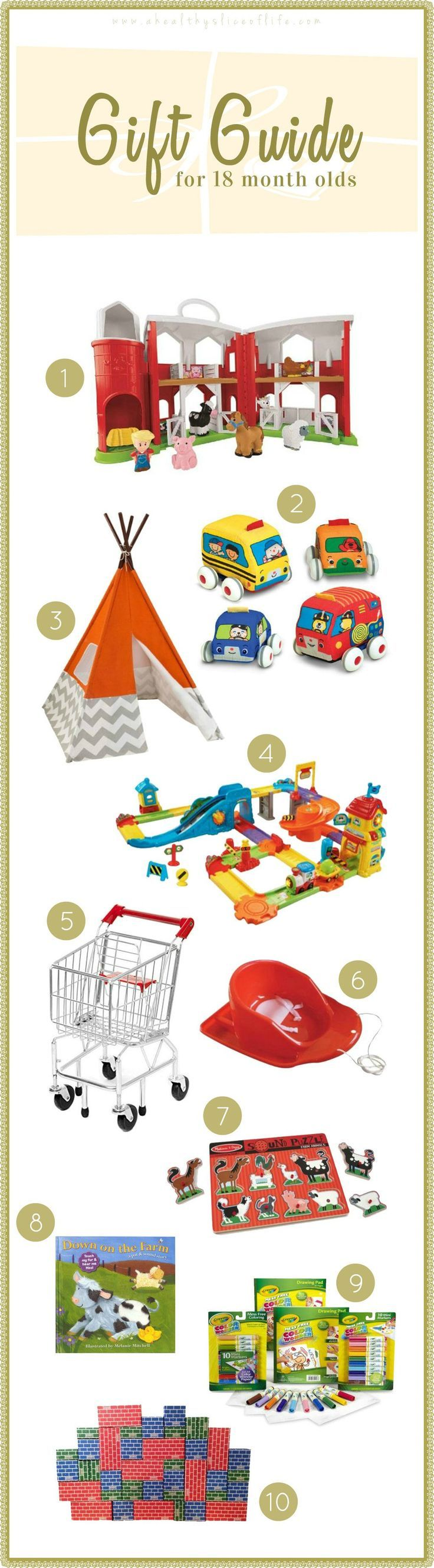 Gift Guide and ideas for 18 months old.  Perfect gift ideas for Christmas!