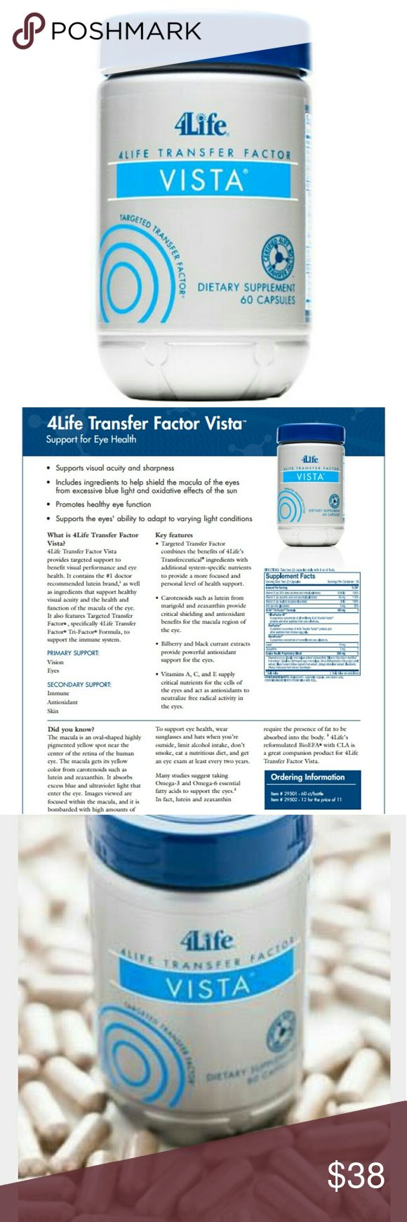 4Life Transfer Factor VISTA Support For Eye Health Maintains visual acuity and sharpness. Includes ingredients to help reduce the oxidative effects of the sun or of excessive blue light exposure on the macula of the eyes. Promotes healthy eye function. Supports the ability to adapt to varying light conditions. 60 Capsules. Exp 07/2018 4Life Transfer Factor Other
