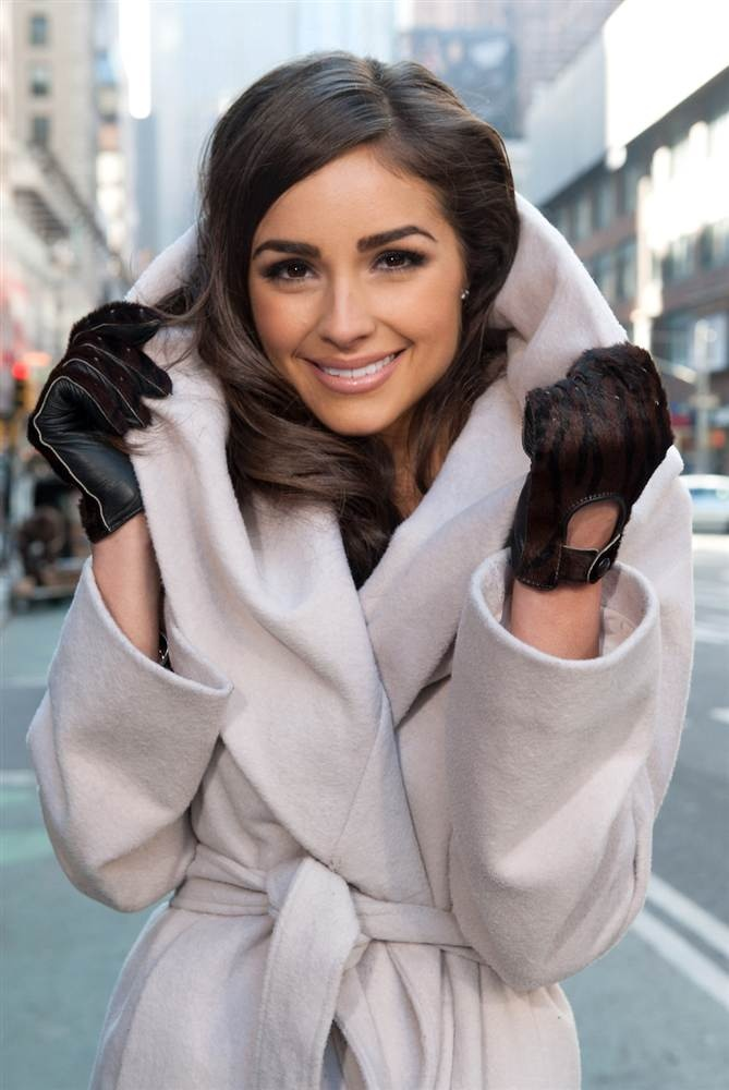 """Olivia Culpo  Miss Universe Olivia Culpo visits """"Extra"""" in Times Square on Jan. 3 in New York."""