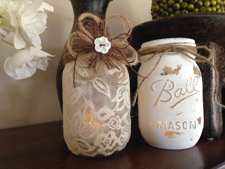 Shabby Chic Mason Jars. Wedding Centerpieces. Lace Candle holder. Distressed white candle holder. Vases. Engagement Party. Home/Patio Decor. by WineCountryAccents on Etsy