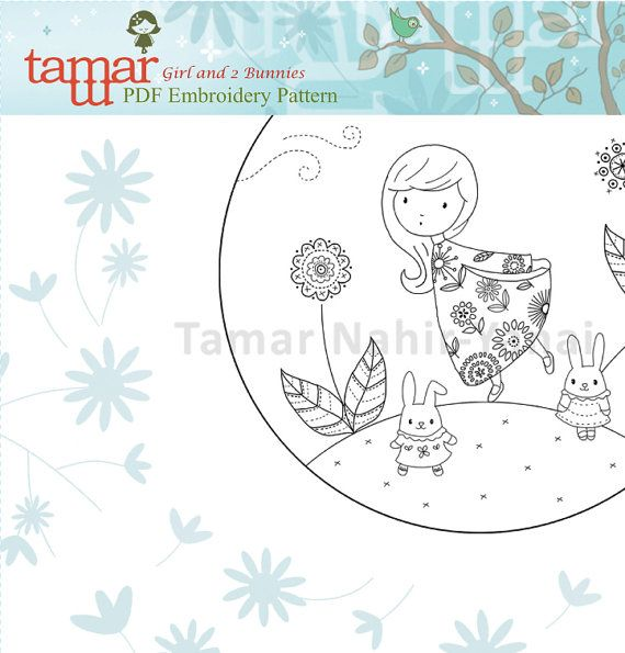 Embroidery pattern baby shower - Girl and 2 Bunnies