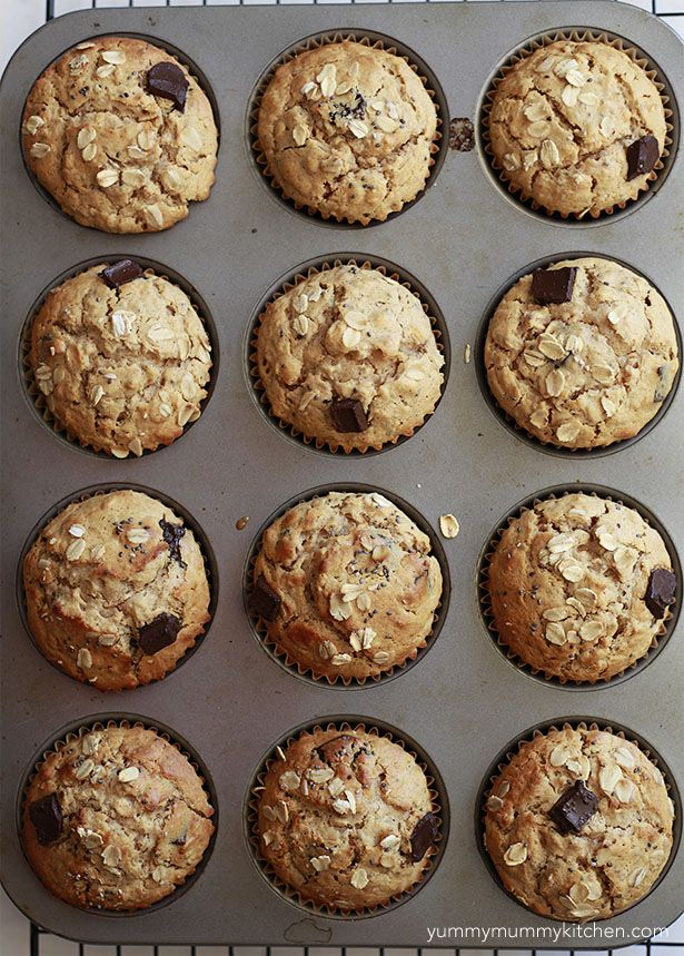 peanut butter muffins 1 cup rolled oats 1 cup all-purpose or gf flour 1/2 teaspoon salt 1 tablespoon baking powder 1/2 cup honey or maple syrup 1/2 cup peanut butter (creamy or crunchy), room temperature 1 cup unsweetened almond milk 2 eggs (or 2 flax eggs if vegan) 1/4 cup melted coconut oil 1 tablespoon chia seeds 1/3 cup chocolate chips or chunks*