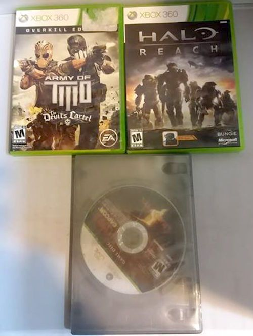 XBOX 360 3 Pack Games Action Army Of 2 Devils Cartel Halo Reach Resident Evil