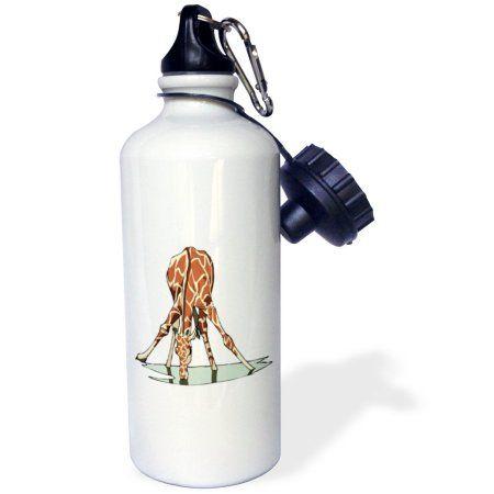 3dRose Giraffe Drinking Water, Sports Water Bottle, 21oz