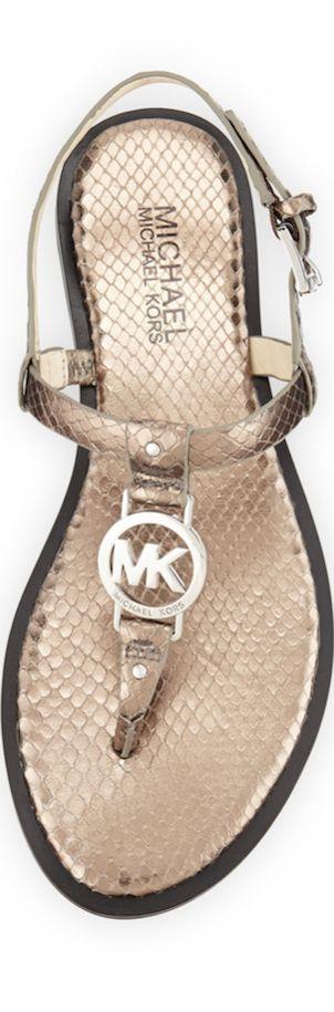 Michael Kors Sondra Snake-Embossed Leather Sandal